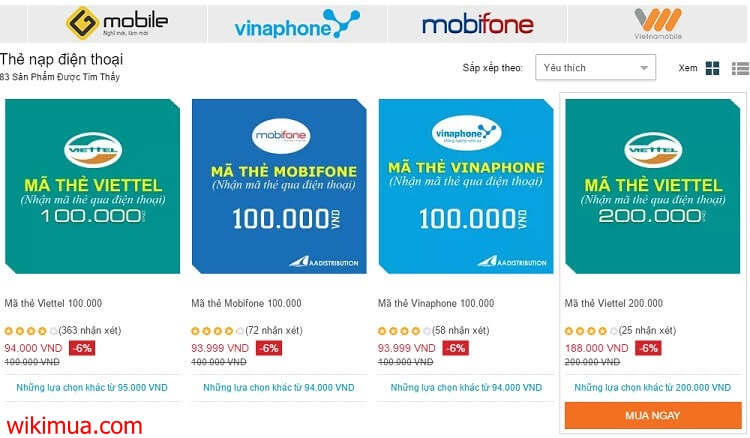 So sánh các địa chỉ mua thẻ điện thoại online 1